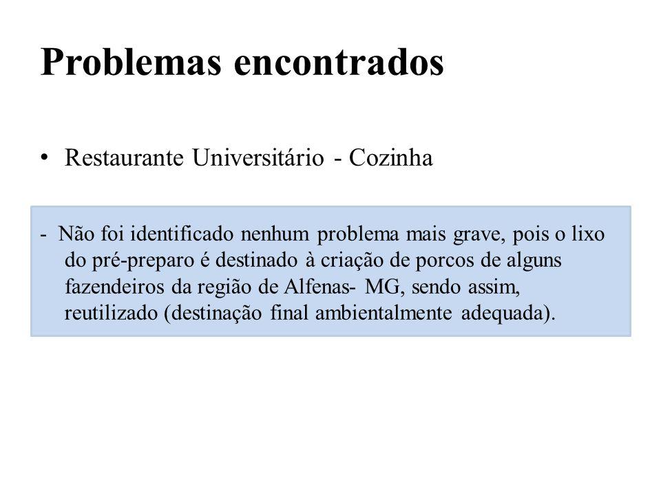 Problemas encontrados Restaurante Universitário - Cozinha - Não foi identificado nenhum problema mais grave, pois o lixo do pré-preparo é destinado à