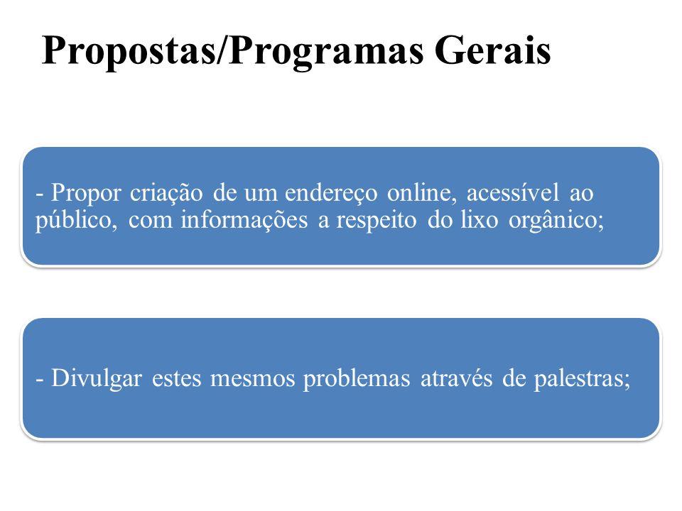 Propostas/Programas Gerais - Propor criação de um endereço online, acessível ao público, com informações a respeito do lixo orgânico; - Divulgar estes