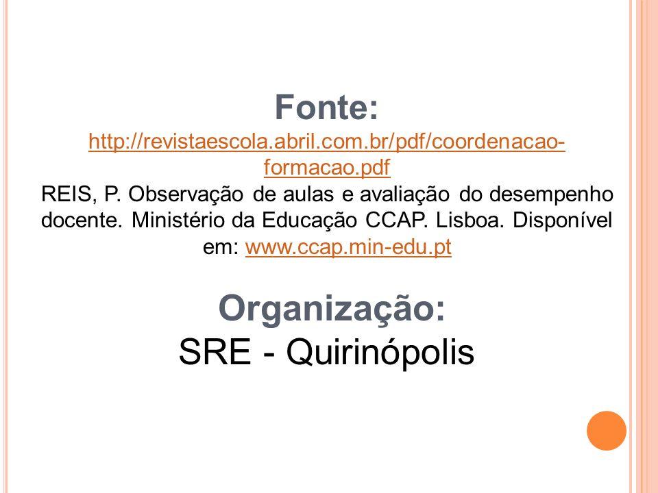Fonte: http://revistaescola.abril.com.br/pdf/coordenacao- formacao.pdf REIS, P.