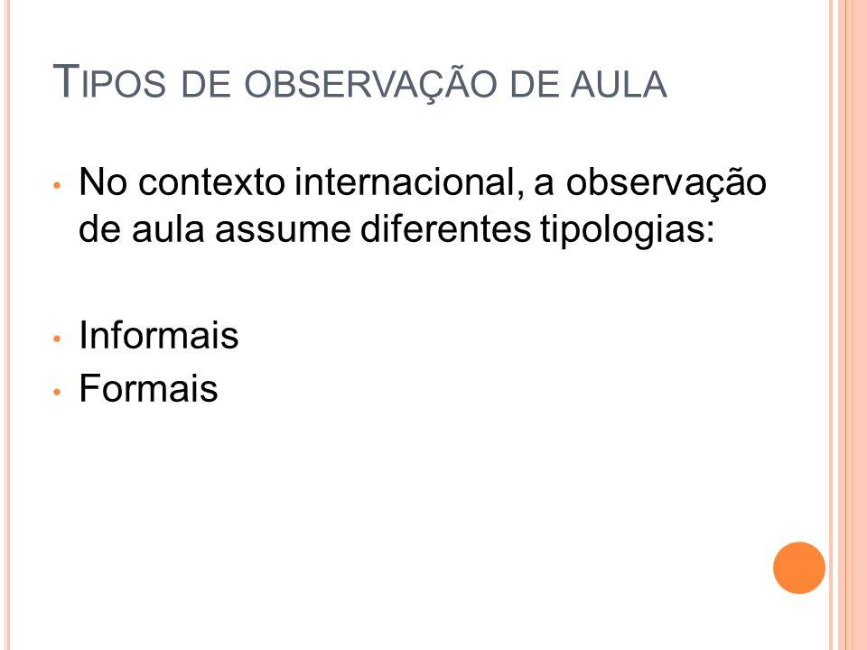 No contexto internacional, a observação de aula assume diferentes tipologias: Informais Formais T IPOS DE OBSERVAÇÃO DE AULA