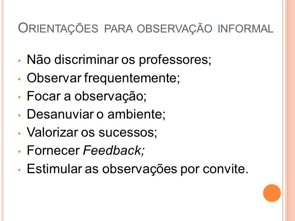 Não discriminar os professores; Observar frequentemente; Focar a observação; Desanuviar o ambiente; Valorizar os sucessos; Fornecer Feedback; Estimular as observações por convite.