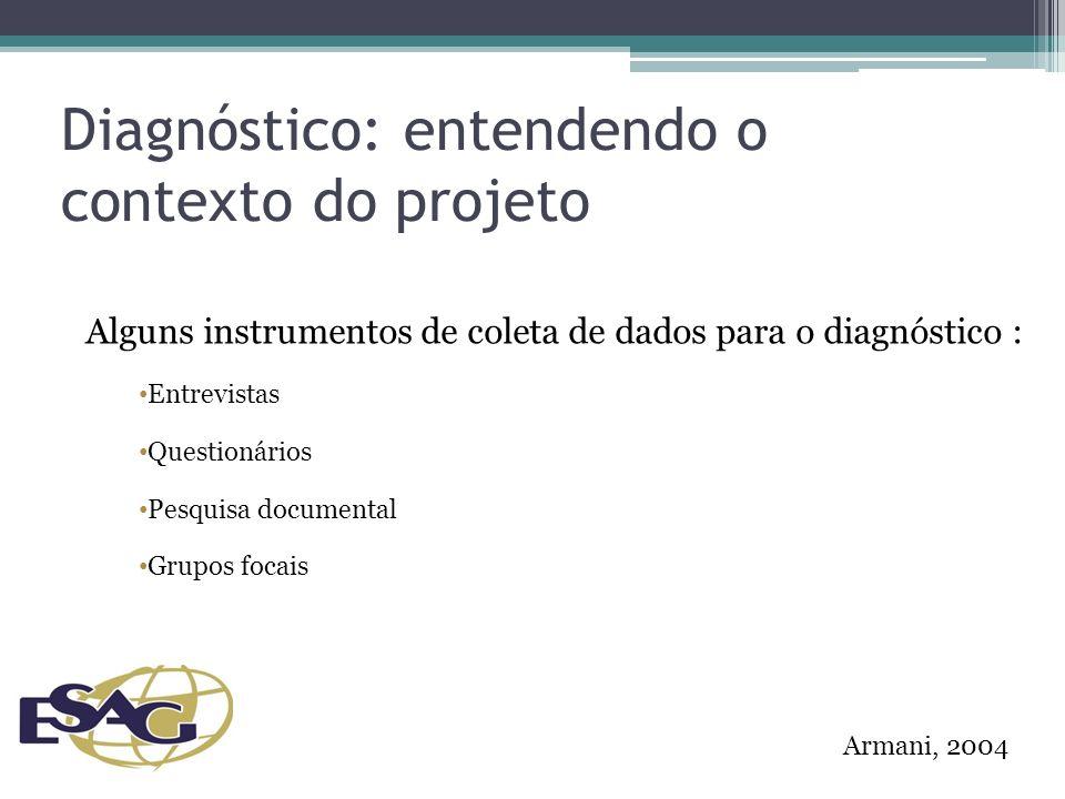 Diagnóstico: entendendo o contexto do projeto Alguns instrumentos de coleta de dados para o diagnóstico : Entrevistas Questionários Pesquisa documental Grupos focais Armani, 2004
