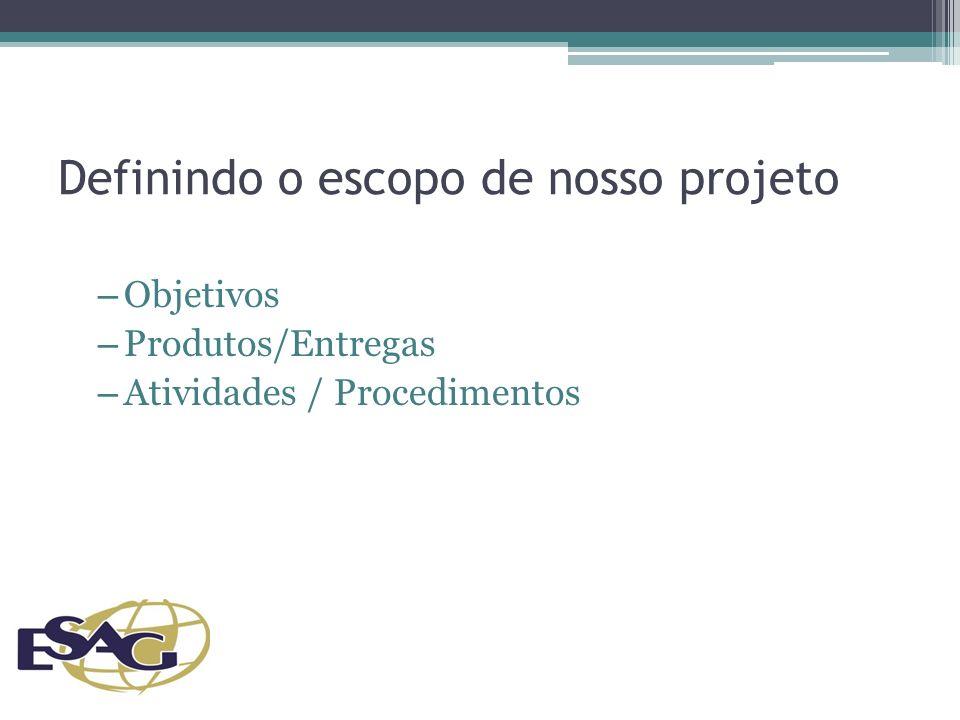 Definindo o escopo de nosso projeto – Objetivos – Produtos/Entregas – Atividades / Procedimentos