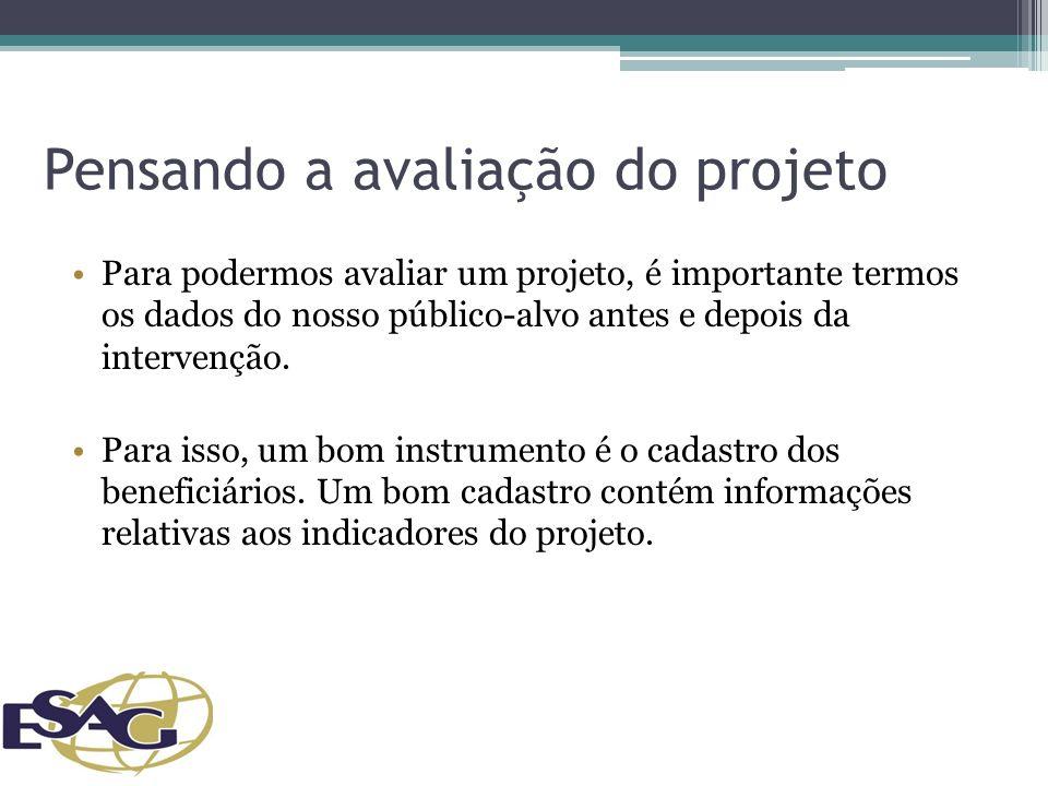 Pensando a avaliação do projeto Para podermos avaliar um projeto, é importante termos os dados do nosso público-alvo antes e depois da intervenção.