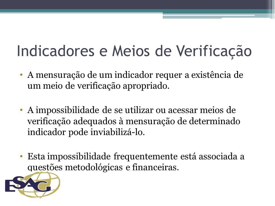 Indicadores e Meios de Verificação A mensuração de um indicador requer a existência de um meio de verificação apropriado.