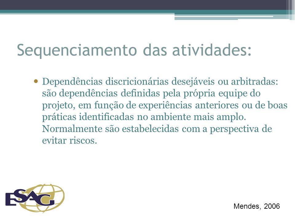 Sequenciamento das atividades: Dependências discricionárias desejáveis ou arbitradas: são dependências definidas pela própria equipe do projeto, em função de experiências anteriores ou de boas práticas identificadas no ambiente mais amplo.