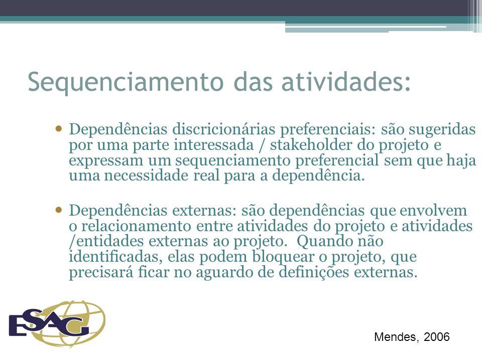 Sequenciamento das atividades: Dependências discricionárias preferenciais: são sugeridas por uma parte interessada / stakeholder do projeto e expressam um sequenciamento preferencial sem que haja uma necessidade real para a dependência.
