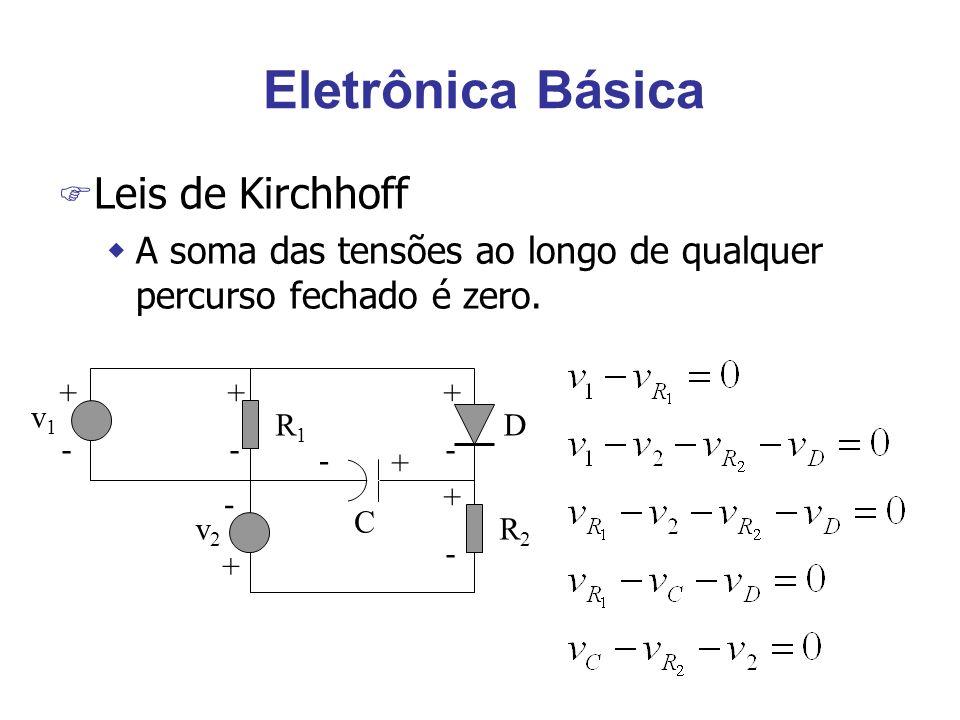 Eletrônica Básica F Leis de Kirchhoff wA soma das tensões ao longo de qualquer percurso fechado é zero.