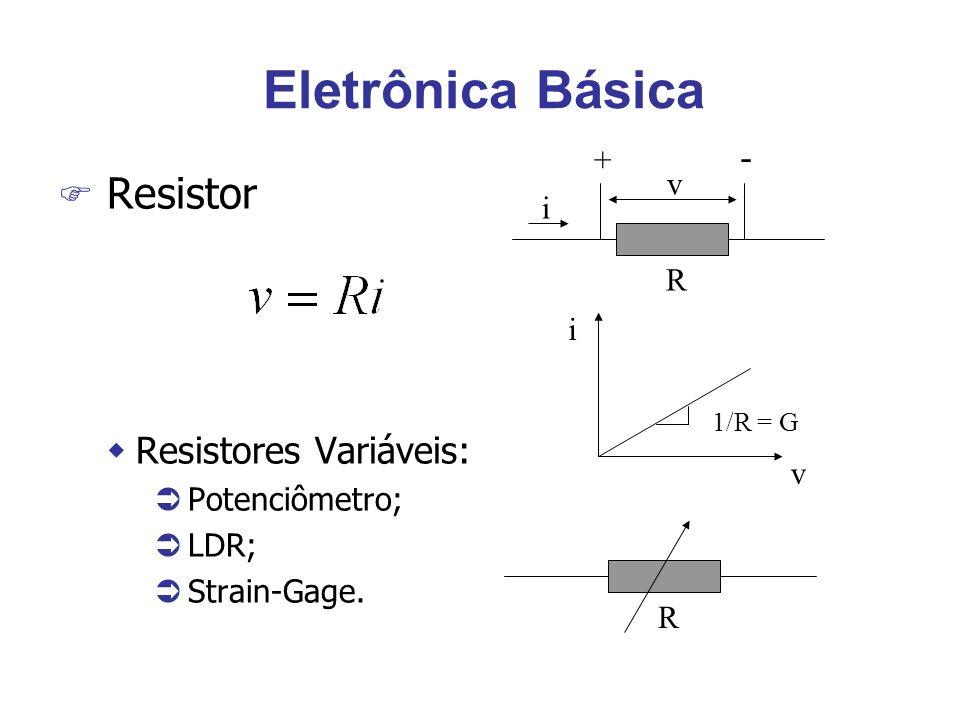 F Resistor wResistores Variáveis: Ü Potenciômetro; Ü LDR; Ü Strain-Gage. R R v i + - v i 1/R = G