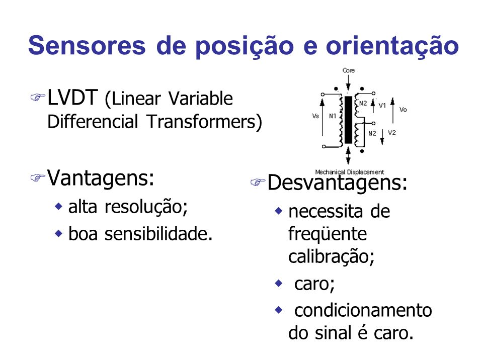 Sensores de posição e orientação F LVDT (Linear Variable Differencial Transformers) F Vantagens: walta resolução; wboa sensibilidade. F Desvantagens:
