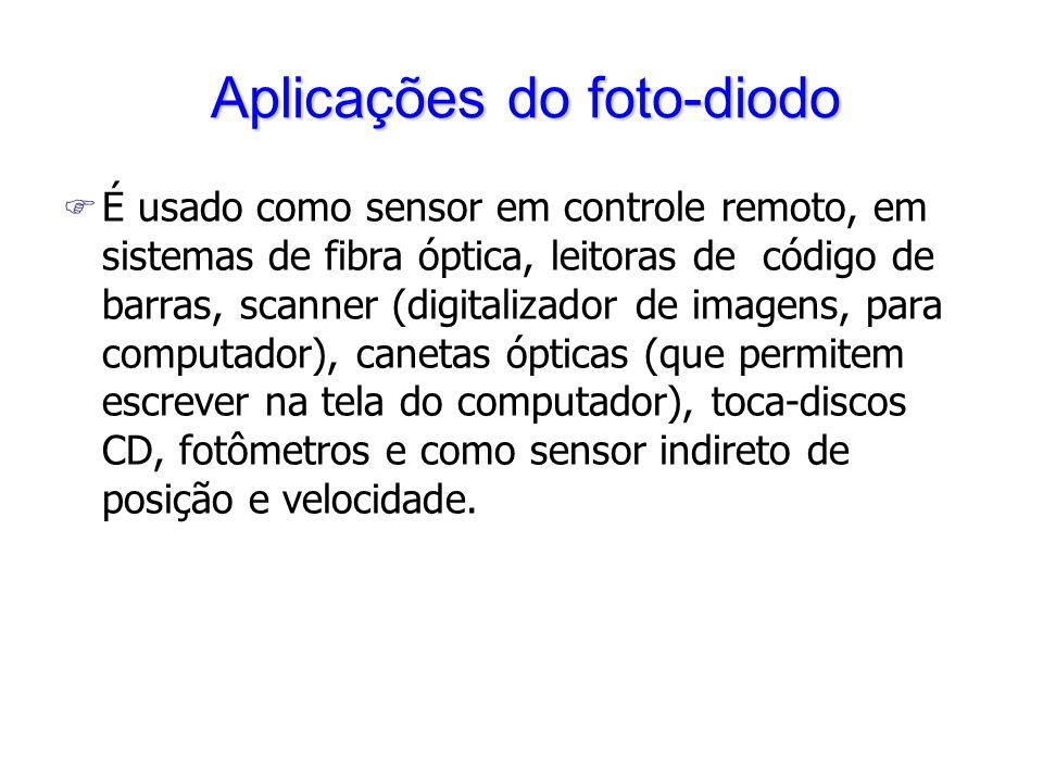 F É usado como sensor em controle remoto, em sistemas de fibra óptica, leitoras de código de barras, scanner (digitalizador de imagens, para computado