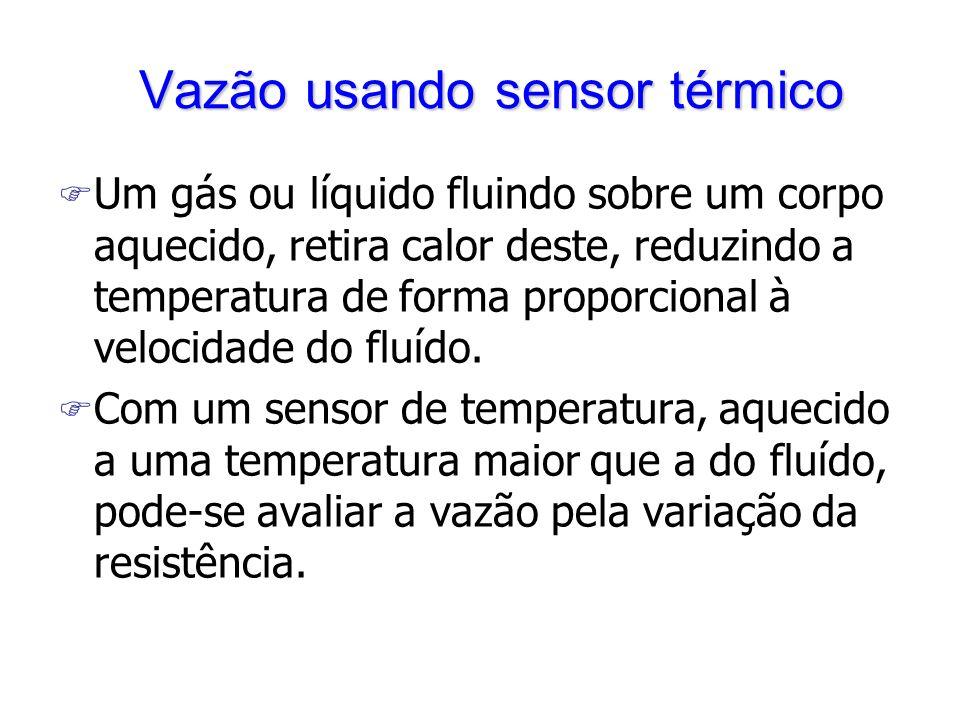 Vazão usando sensor térmico Vazão usando sensor térmico F Um gás ou líquido fluindo sobre um corpo aquecido, retira calor deste, reduzindo a temperatura de forma proporcional à velocidade do fluído.