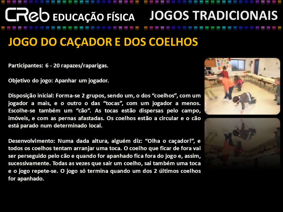 JOGO DO CAÇADOR E DOS COELHOS JOGOS TRADICIONAIS Participantes: 6 - 20 rapazes/raparigas. Objetivo do jogo: Apanhar um jogador. Disposição inicial: Fo