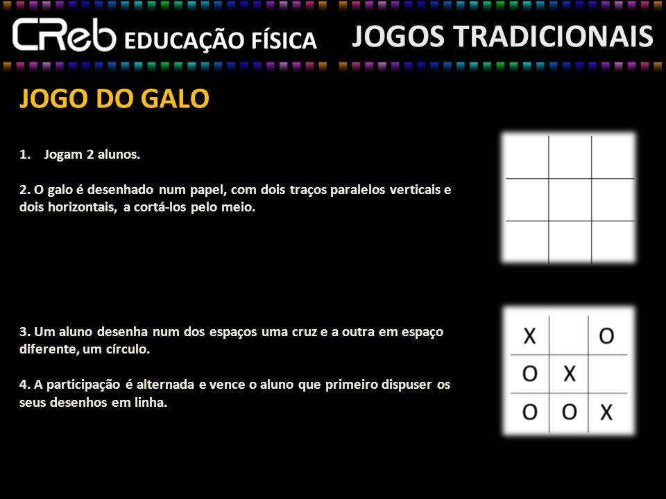 JOGO DO GALO JOGOS TRADICIONAIS 1.Jogam 2 alunos. 2. O galo é desenhado num papel, com dois traços paralelos verticais e dois horizontais, a cortá-los