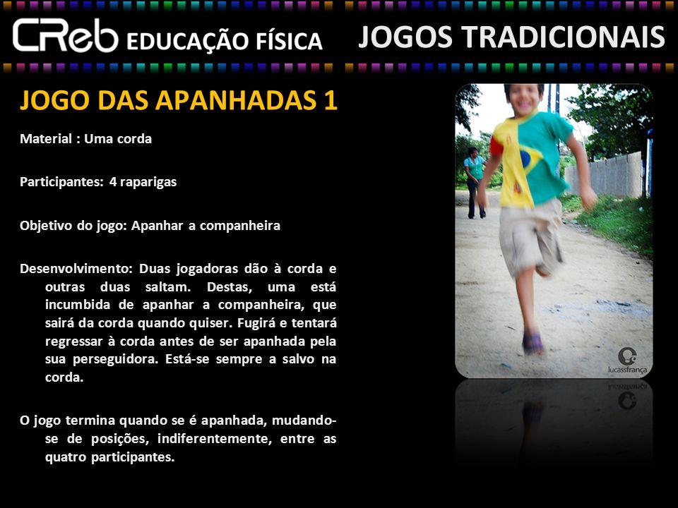 JOGO DAS APANHADAS 1 Material : Uma corda Participantes: 4 raparigas Objetivo do jogo: Apanhar a companheira Desenvolvimento: Duas jogadoras dão à cor