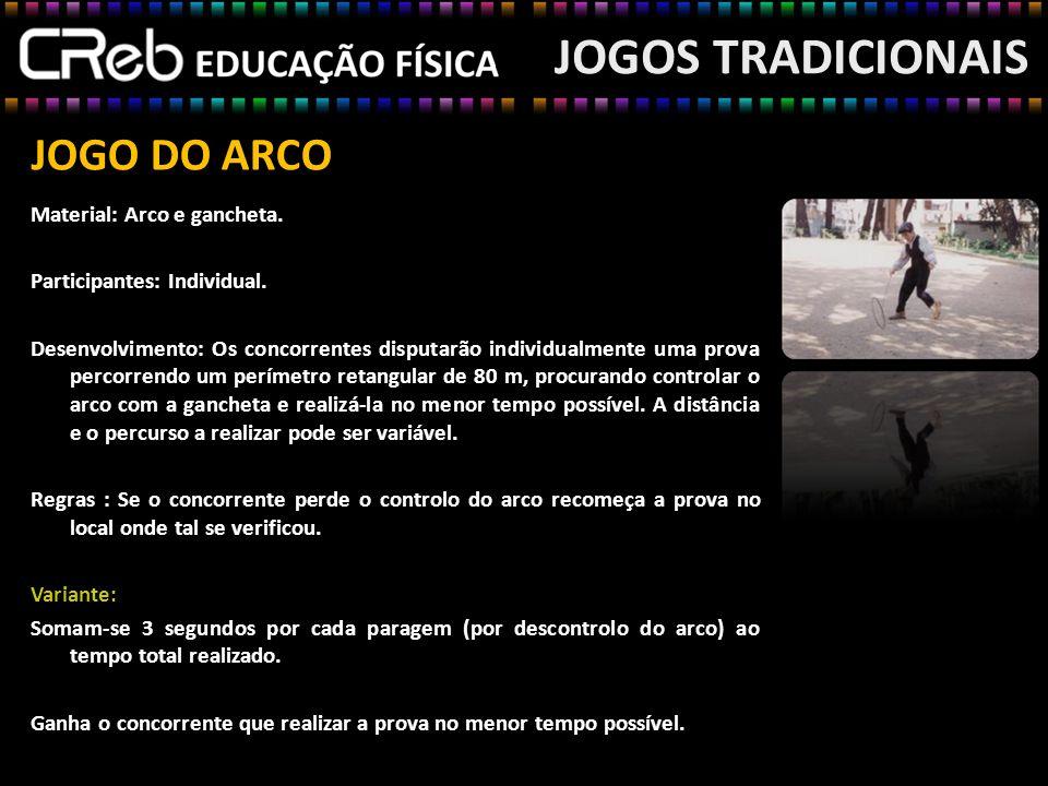JOGO DO ARCO Material: Arco e gancheta. Participantes: Individual. Desenvolvimento: Os concorrentes disputarão individualmente uma prova percorrendo u