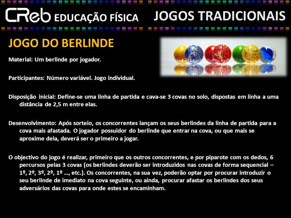 JOGO DO BERLINDE Material: Um berlinde por jogador. Participantes: Número variável. Jogo individual. Disposição inicial: Define-se uma linha de partid