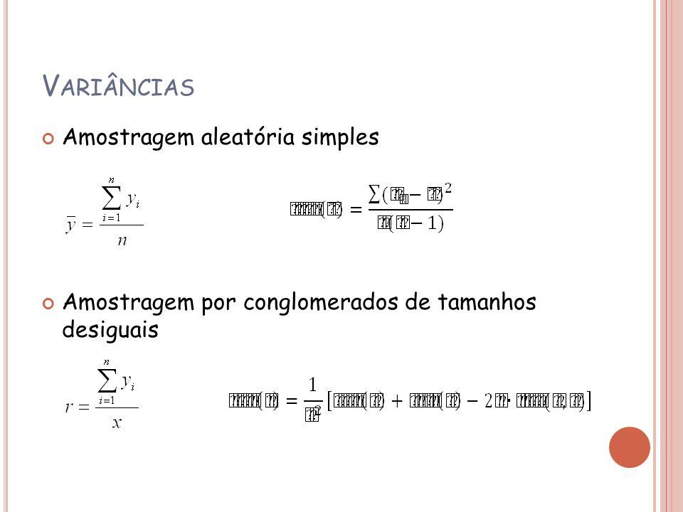 V ARIÂNCIAS Amostragem aleatória simples Amostragem por conglomerados de tamanhos desiguais
