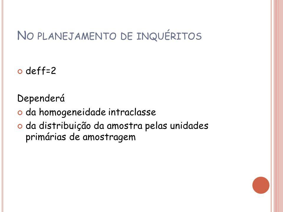 N O PLANEJAMENTO DE INQUÉRITOS deff=2 Dependerá da homogeneidade intraclasse da distribuição da amostra pelas unidades primárias de amostragem