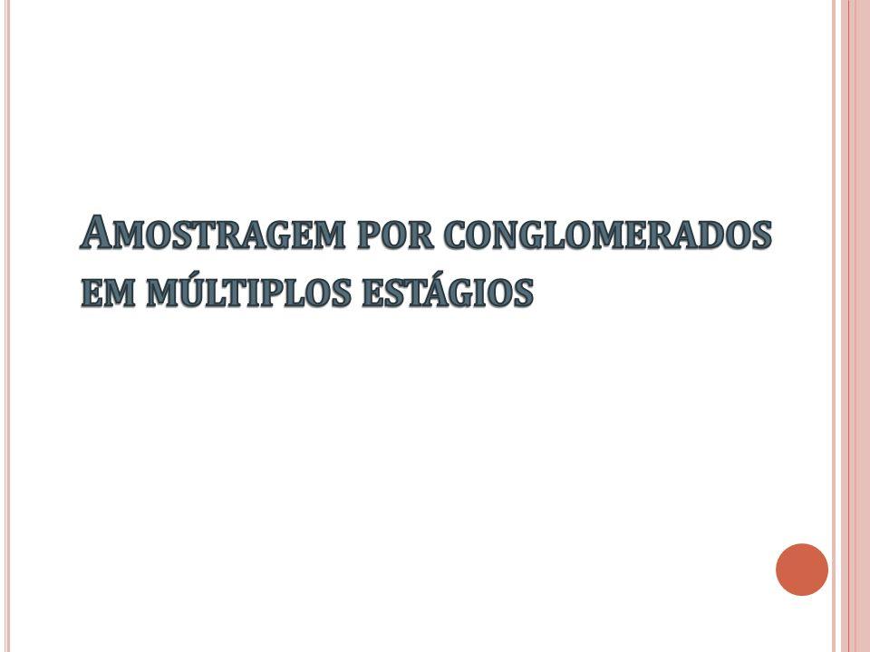 Conglomerados: unidades de amostragem que contém vários elementos Múltiplos estágios sorteio de unidades dentro de unidades sorteadas anteriormente conglomerados sorteados no 1º.
