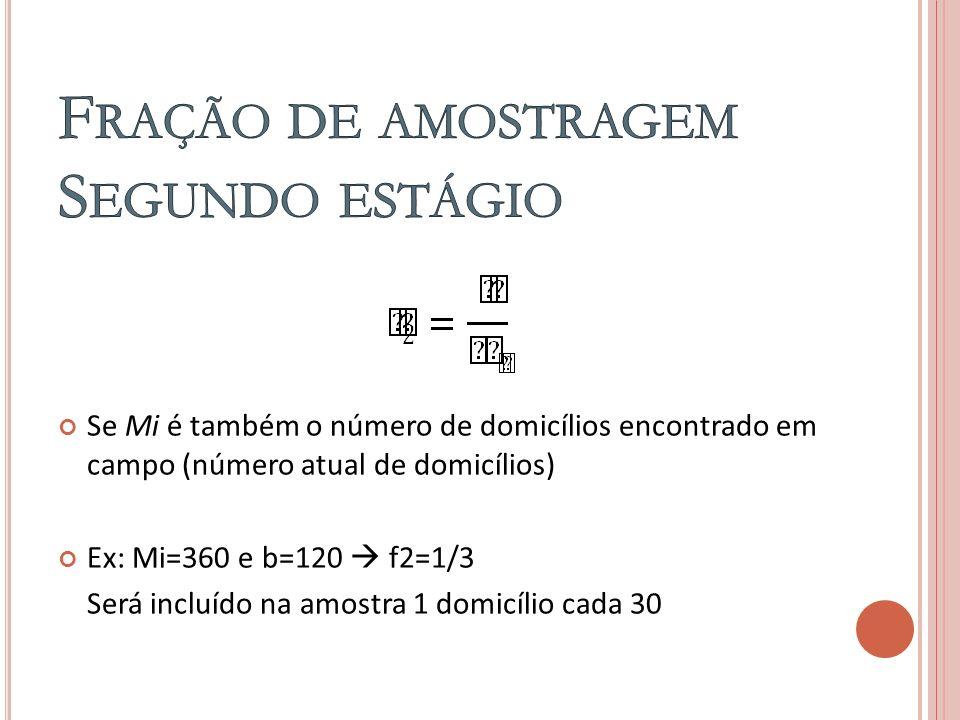 Se Mi é também o número de domicílios encontrado em campo (número atual de domicílios) Ex: Mi=360 e b=120 f2=1/3 Será incluído na amostra 1 domicílio cada 30