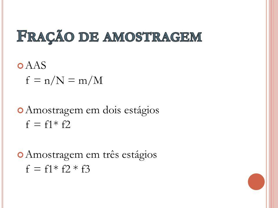 AAS f = n/N = m/M Amostragem em dois estágios f = f1* f2 Amostragem em três estágios f = f1* f2 * f3