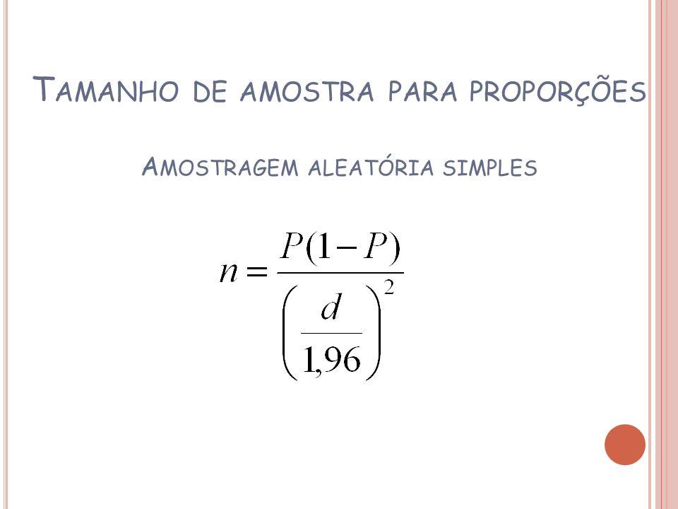 T AMANHO DE AMOSTRA PARA PROPORÇÕES A MOSTRAGEM ALEATÓRIA SIMPLES