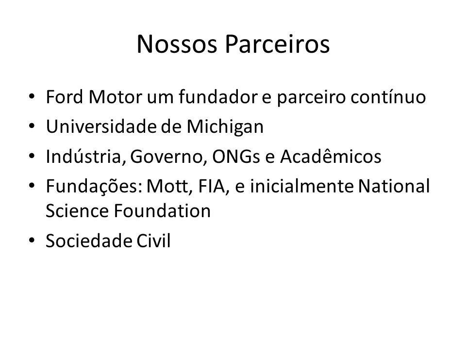 Nossos Parceiros Ford Motor um fundador e parceiro contínuo Universidade de Michigan Indústria, Governo, ONGs e Acadêmicos Fundações: Mott, FIA, e ini