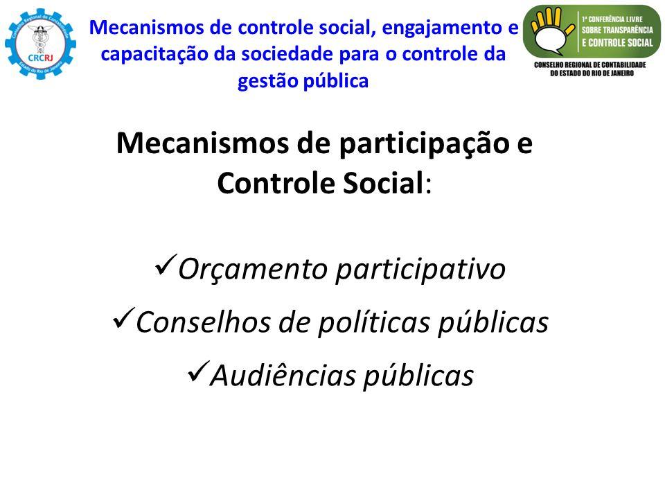 Orçamento participativo Conselhos de políticas públicas Audiências públicas Mecanismos de participação e Controle Social: Mecanismos de controle socia