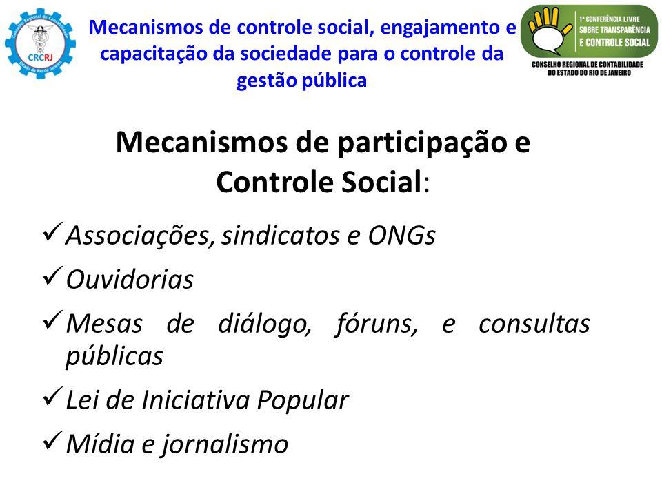 Associações, sindicatos e ONGs Ouvidorias Mesas de diálogo, fóruns, e consultas públicas Lei de Iniciativa Popular Mídia e jornalismo Mecanismos de pa