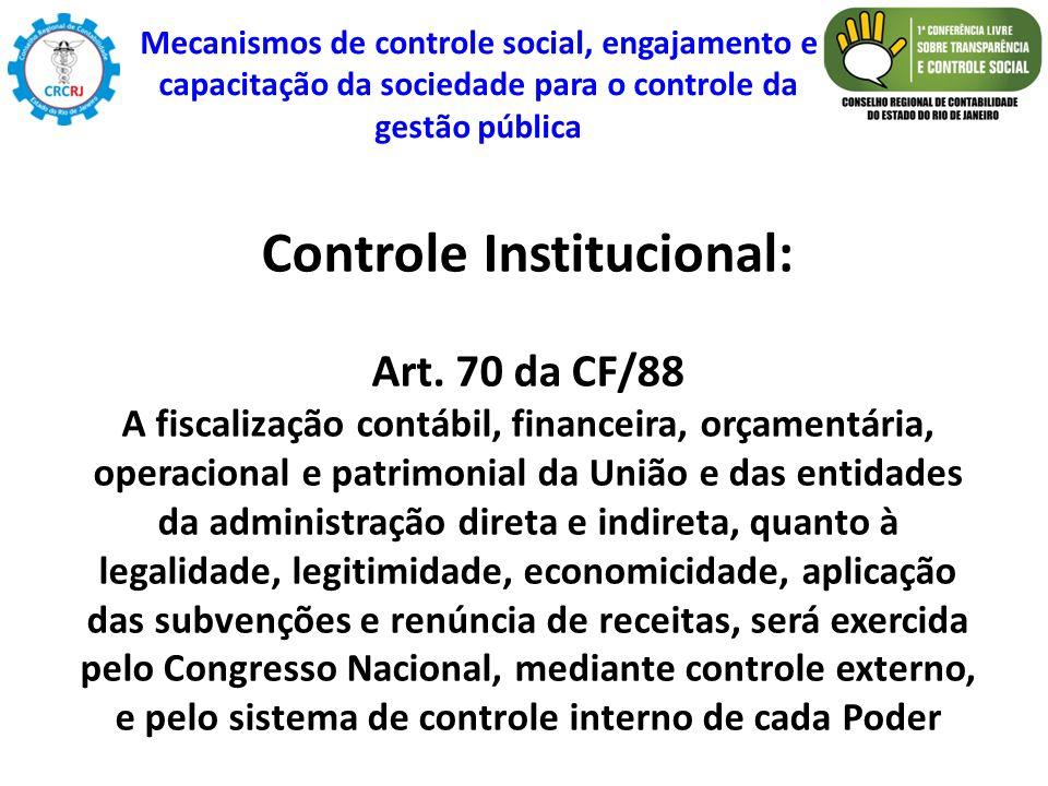 Controle Institucional: Art. 70 da CF/88 A fiscalização contábil, financeira, orçamentária, operacional e patrimonial da União e das entidades da admi