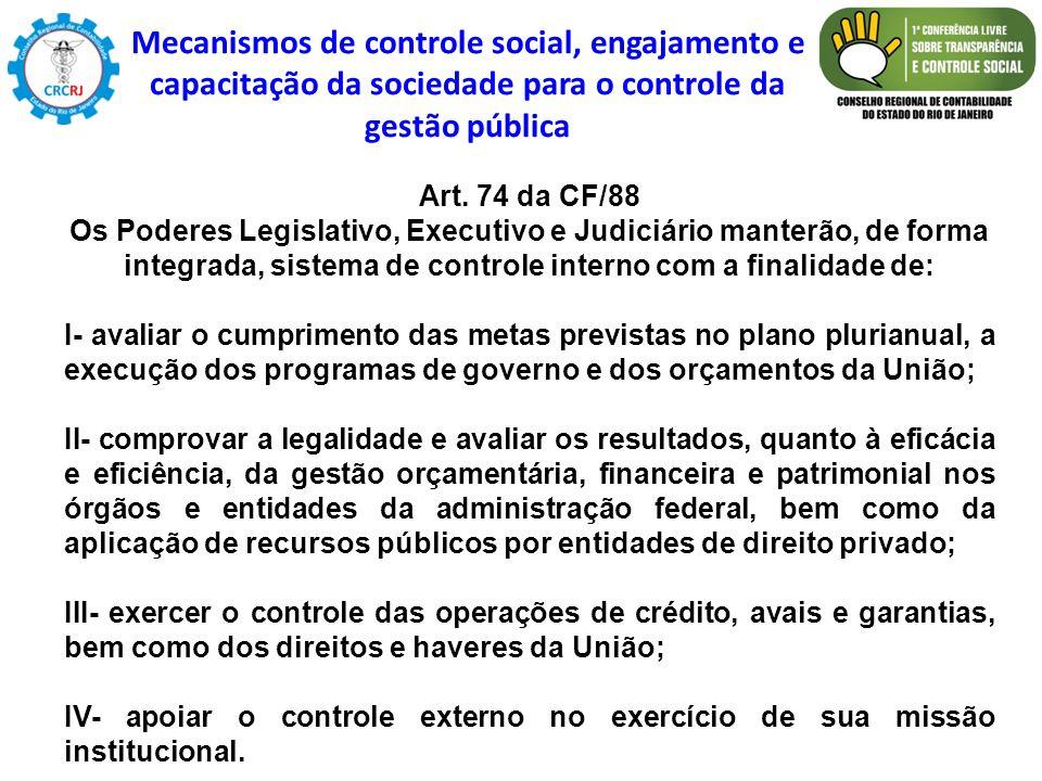 Art. 74 da CF/88 Os Poderes Legislativo, Executivo e Judiciário manterão, de forma integrada, sistema de controle interno com a finalidade de: I- aval