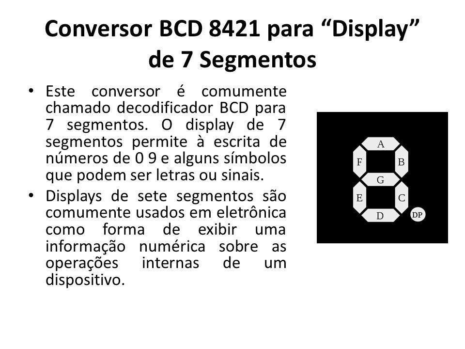 Conversor BCD 8421 para Display de 7 Segmentos Este conversor é comumente chamado decodificador BCD para 7 segmentos. O display de 7 segmentos permite