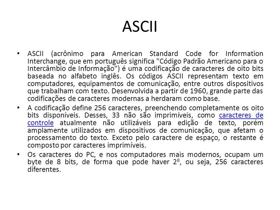 Tabela ASCII Veja a tabela completa em: http://www.radames.m anosso.nom.br/gramatic a/asciiiso88591.htm http://www.radames.m anosso.nom.br/gramatic a/asciiiso88591.htm