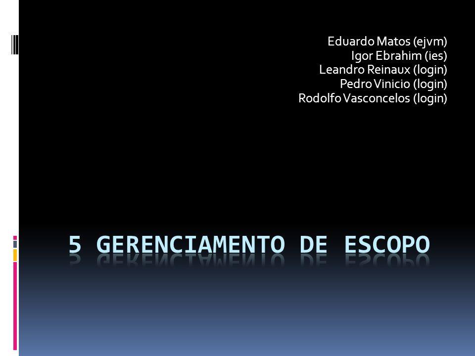 Eduardo Matos (ejvm) Igor Ebrahim (ies) Leandro Reinaux (login) Pedro Vinicio (login) Rodolfo Vasconcelos (login)