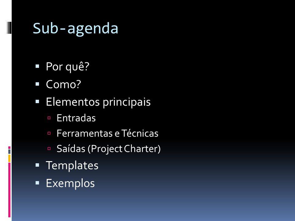 Sub-agenda Por quê? Como? Elementos principais Entradas Ferramentas e Técnicas Saídas (Project Charter) Templates Exemplos