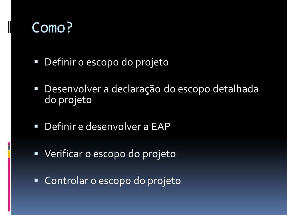 Como? Definir o escopo do projeto Desenvolver a declaração do escopo detalhada do projeto Definir e desenvolver a EAP Verificar o escopo do projeto Co