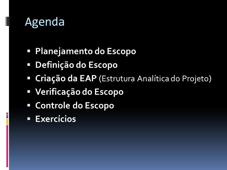 Agenda Planejamento do Escopo Definição do Escopo Criação da EAP ( Estrutura Analítica do Projeto ) Verificação do Escopo Controle do Escopo Exercício