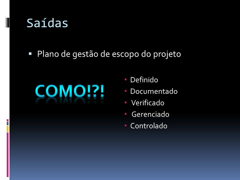Saídas Plano de gestão de escopo do projeto Definido Documentado Verificado Gerenciado Controlado