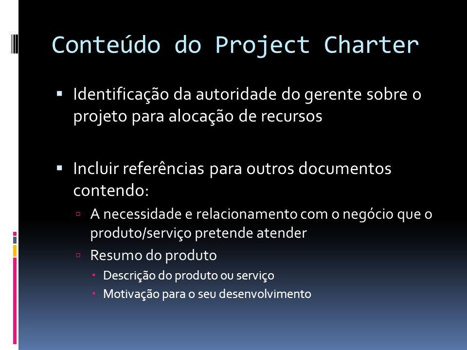 Conteúdo do Project Charter Identificação da autoridade do gerente sobre o projeto para alocação de recursos Incluir referências para outros documento