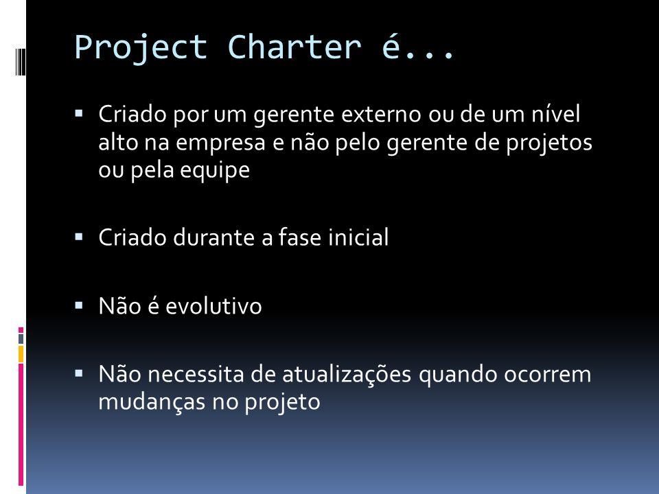 Project Charter é... Criado por um gerente externo ou de um nível alto na empresa e não pelo gerente de projetos ou pela equipe Criado durante a fase