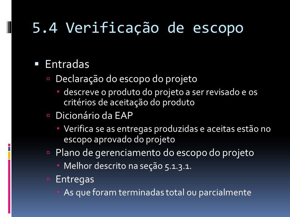 Entradas Declaração do escopo do projeto descreve o produto do projeto a ser revisado e os critérios de aceitação do produto Dicionário da EAP Verific
