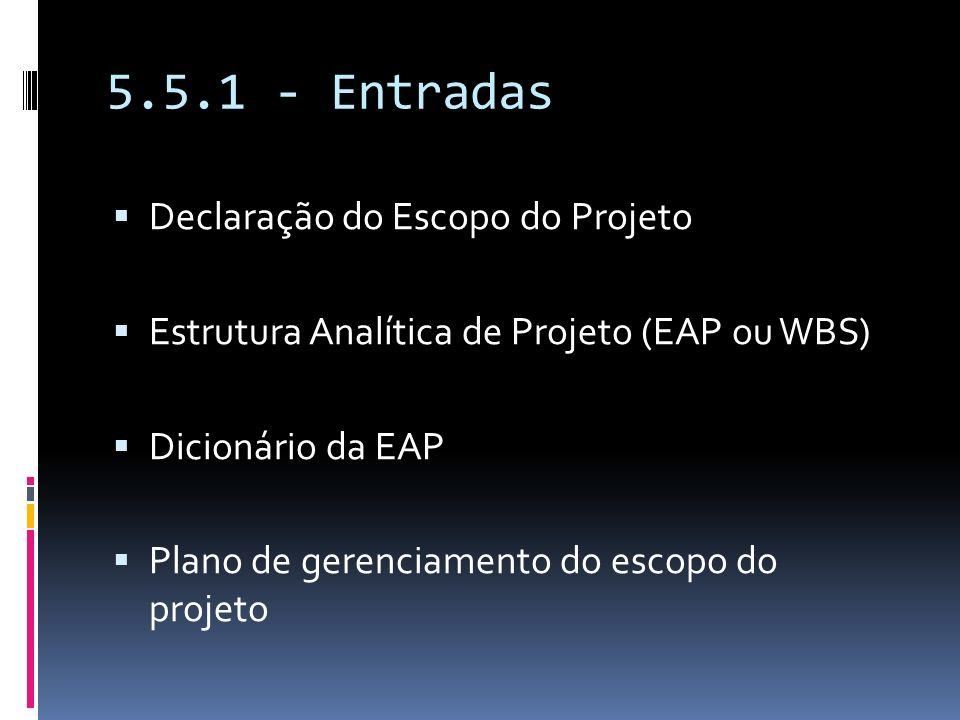 5.5.1 - Entradas Declaração do Escopo do Projeto Estrutura Analítica de Projeto (EAP ou WBS) Dicionário da EAP Plano de gerenciamento do escopo do pro