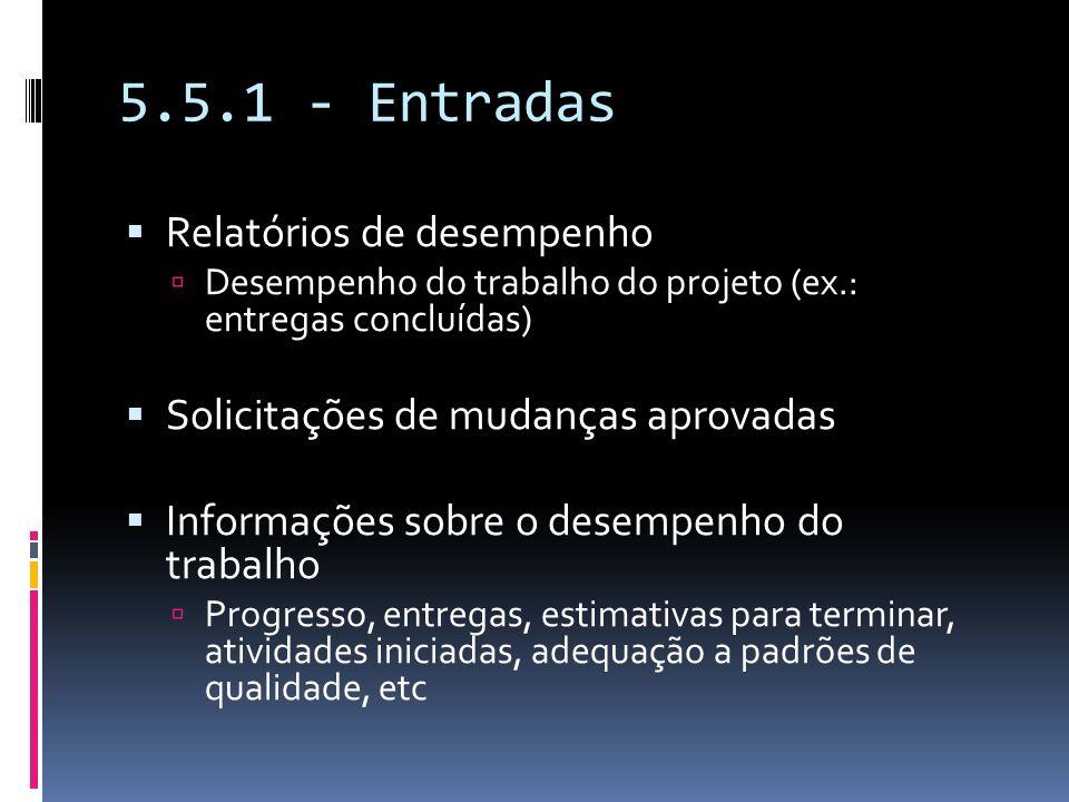 5.5.1 - Entradas Relatórios de desempenho Desempenho do trabalho do projeto (ex.: entregas concluídas) Solicitações de mudanças aprovadas Informações
