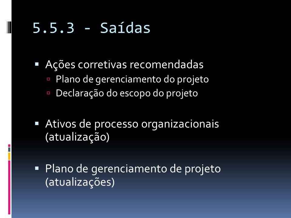 5.5.3 - Saídas Ações corretivas recomendadas Plano de gerenciamento do projeto Declaração do escopo do projeto Ativos de processo organizacionais (atu