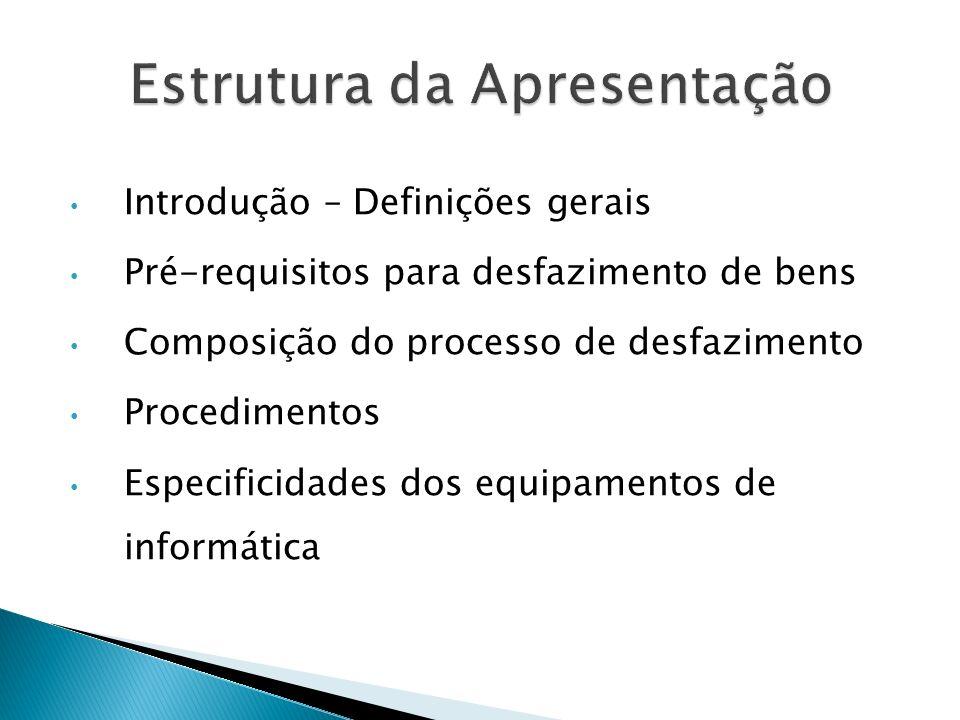 Introdução – Definições gerais Pré-requisitos para desfazimento de bens Composição do processo de desfazimento Procedimentos Especificidades dos equip
