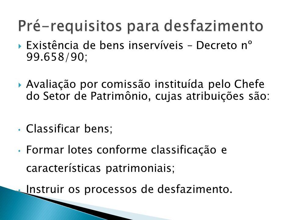 Existência de bens inservíveis – Decreto nº 99.658/90; Avaliação por comissão instituída pelo Chefe do Setor de Patrimônio, cujas atribuições são: Cla