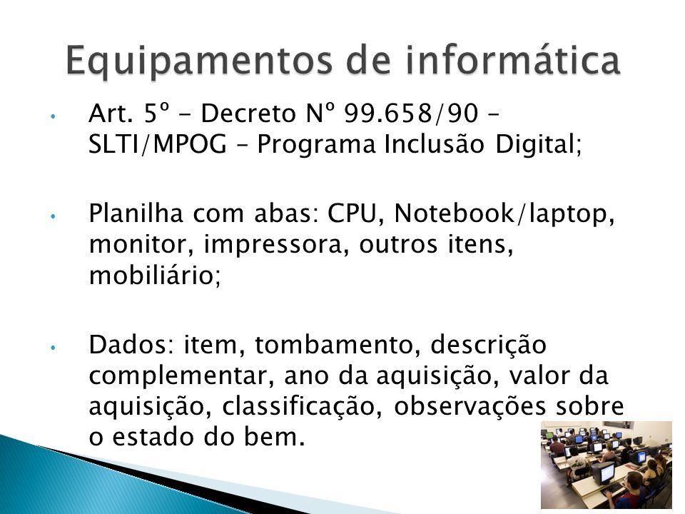 Art. 5º - Decreto Nº 99.658/90 – SLTI/MPOG – Programa Inclusão Digital; Planilha com abas: CPU, Notebook/laptop, monitor, impressora, outros itens, mo