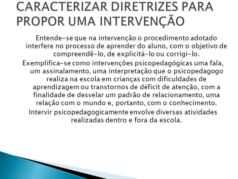 Entende-se que na intervenção o procedimento adotado interfere no processo de aprender do aluno, com o objetivo de compreendê-lo, de explicitá-lo ou c
