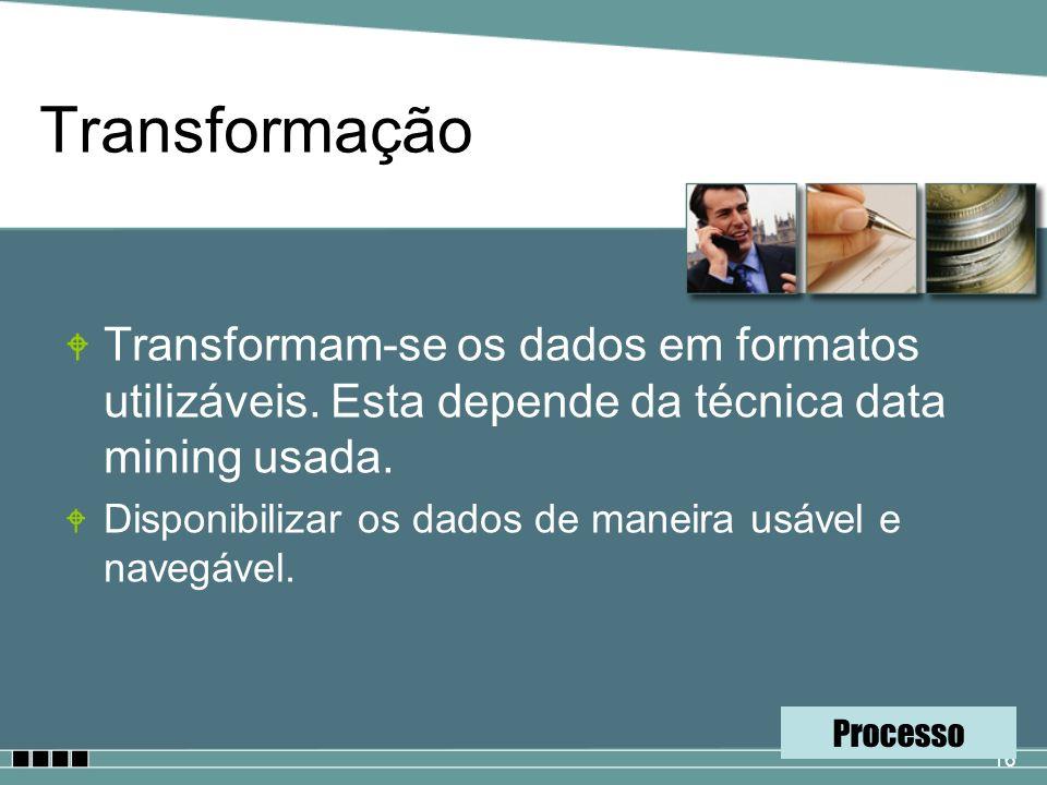 16 Transformação W Transformam-se os dados em formatos utilizáveis. Esta depende da técnica data mining usada. W Disponibilizar os dados de maneira us